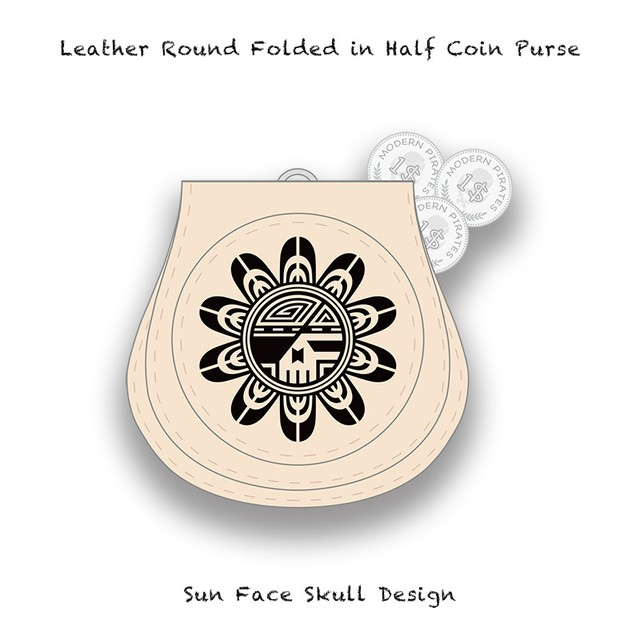 Leather Coin Purse / Sun Face Skull Design 002