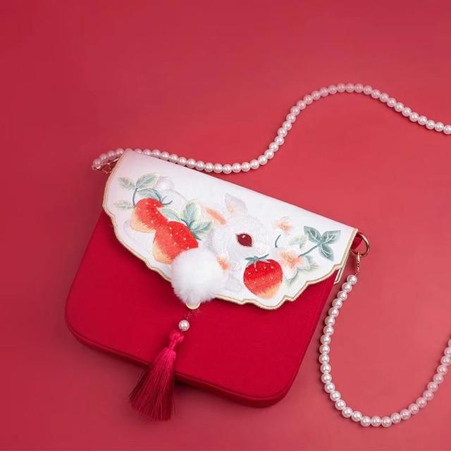 パーティーバッグ 手作り 普段用 プレゼント 撮影 刺繍 可愛い 民族風 チェーン 兎 レッド グリーン