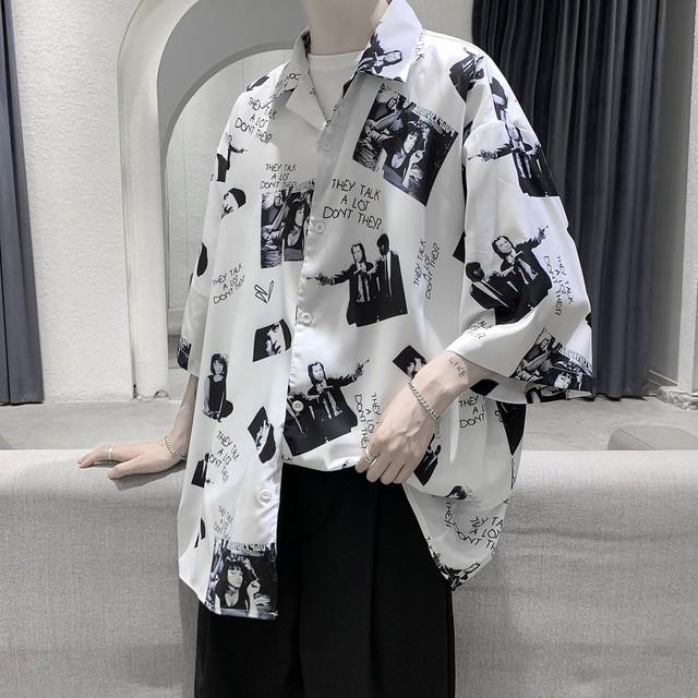 【AOSHEシリーズ】★シャツ★ 2color 男女兼用 カップル服 メンズ 七分袖 ゆったり 夏 M L XL 2XL 黒 白