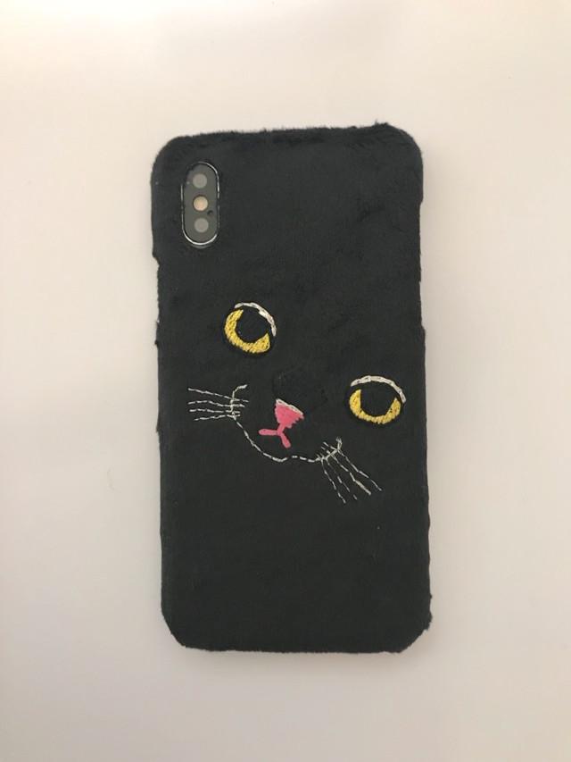 【iPhoneX専用】ビッグフェイスネコケース【ブラック】