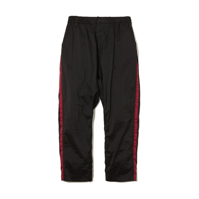 STRETCHED TAPERED PANTS -BLACK/BURGUNDY