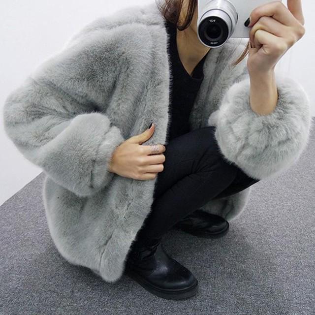 エコファー コート レディース アウター ファー ファーコート ジャケット 長袖 ミディアム丈 グレー 黒 全2色 冬 新作 P2128