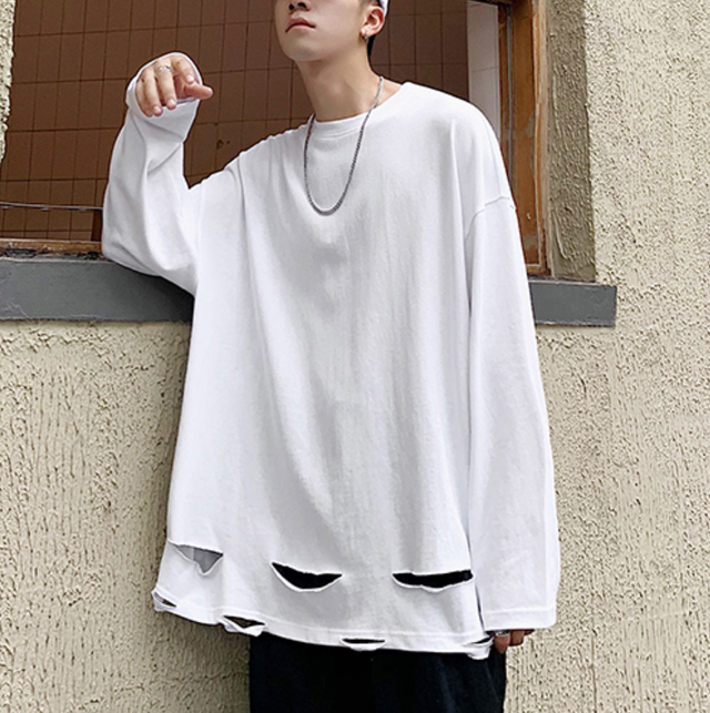 Damage design over size long tee LD0524