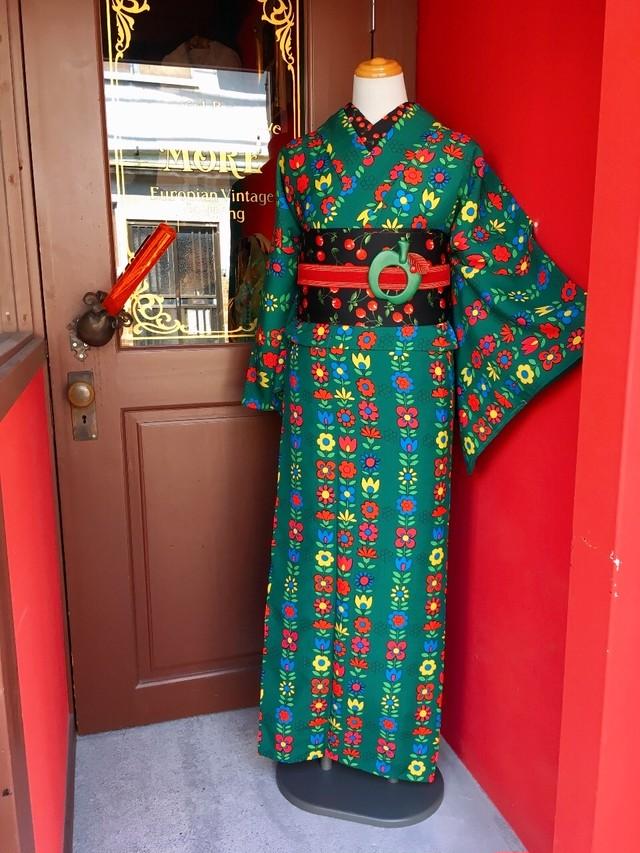 モア オリジナル レトロフラワー着物(浴衣)