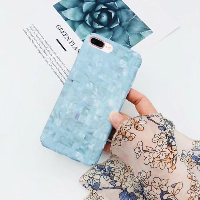 スクエア<ブルー>カラーシェルデザイン(SPCa0157BU)◆スマホケース/iPhone