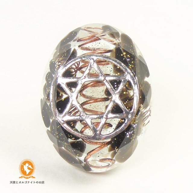 六芒星のミニオルゴナイト ダビデの星 モリオン 黒水晶 cm1020hexmol00039
