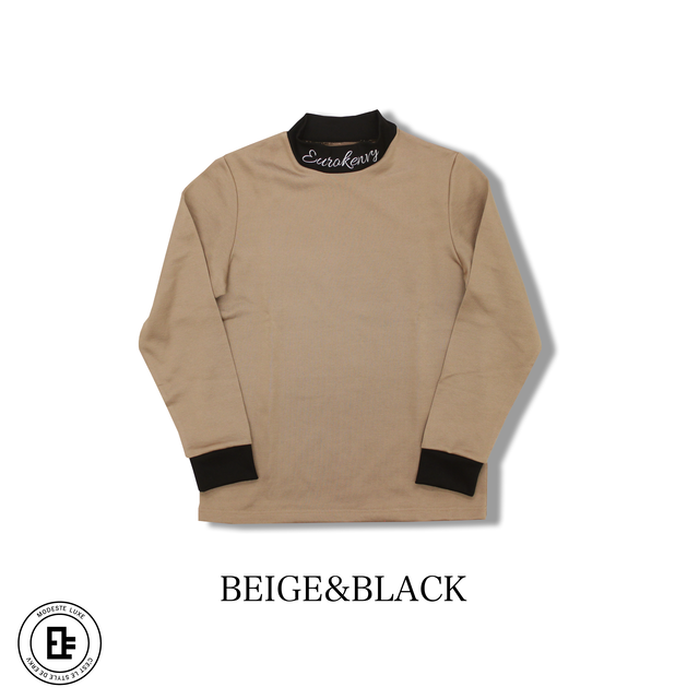 Premium mockneck sleeve【BEIGE× BLACK】