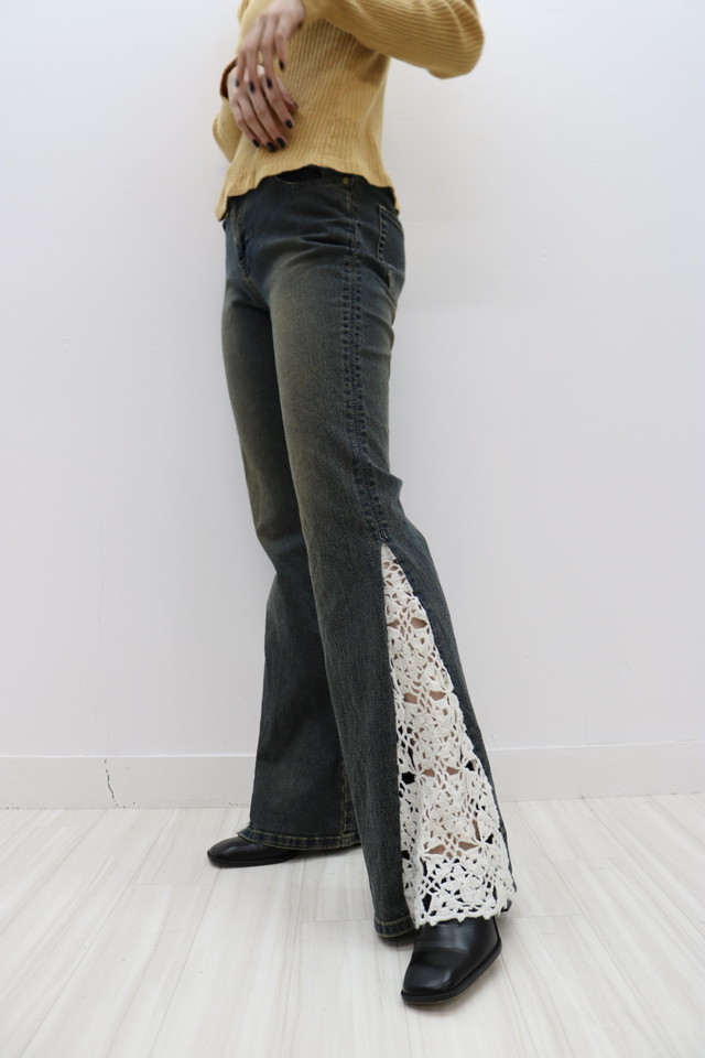 lace flare denim pants / PT10090001