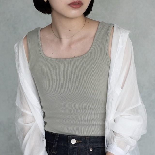 細リブタンクトップ/KHK