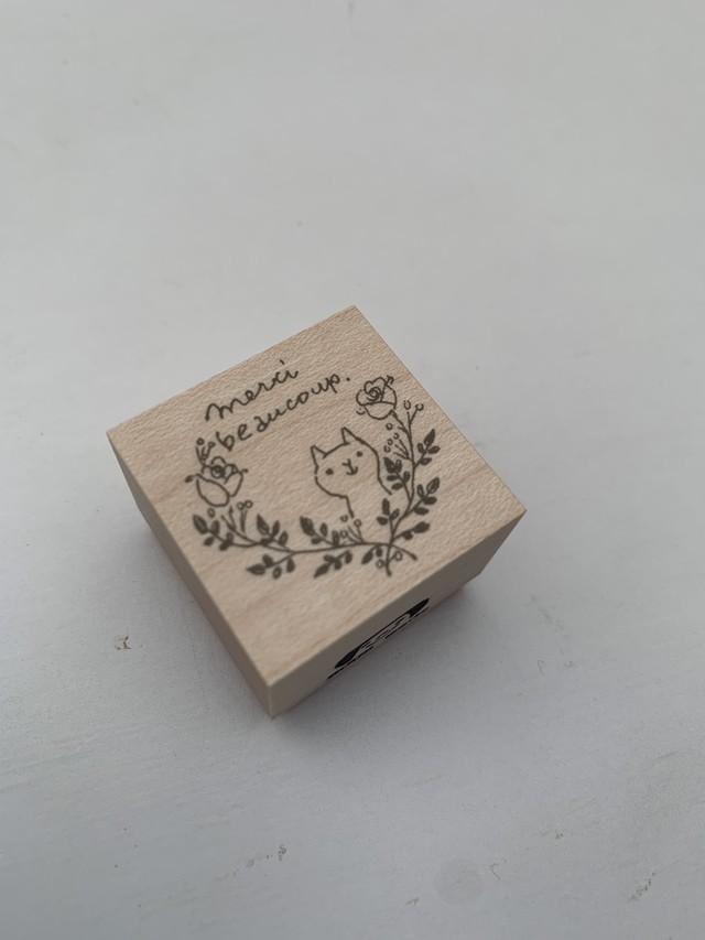 AtelierBOUSスタンプ Mercibeaucoup*蔓バラと猫。