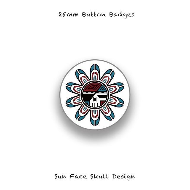 25mm Button Badges / Sun Face Skull Design 006