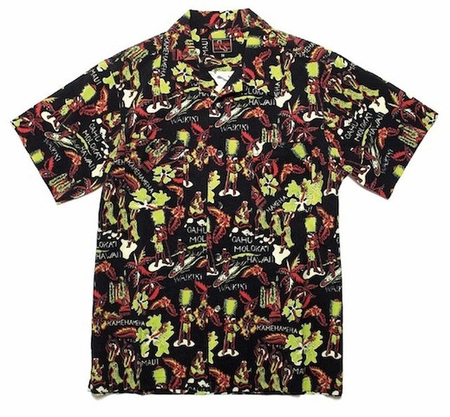 O.C CREW MOON LIGHT SWIM HAWAIIAN SHIRT Black