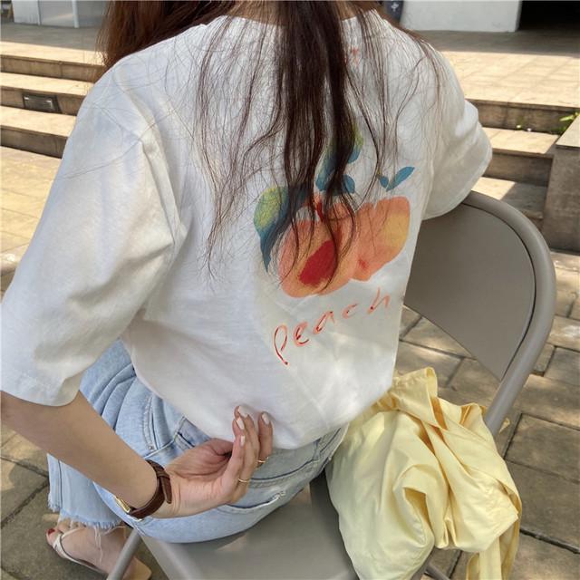 レトロPEACHプリントティーシャツ