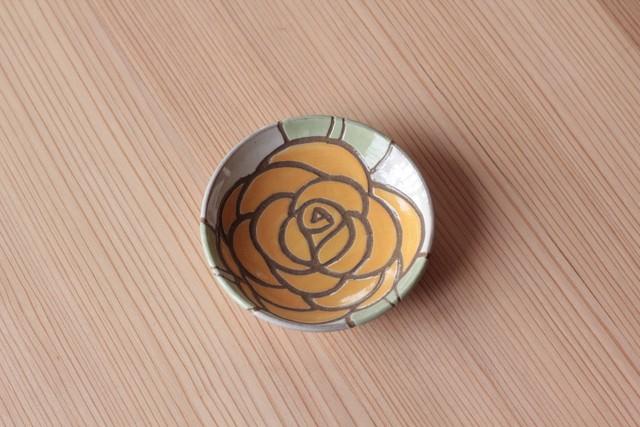 豆皿「バラ黄色」11cm 岡美希