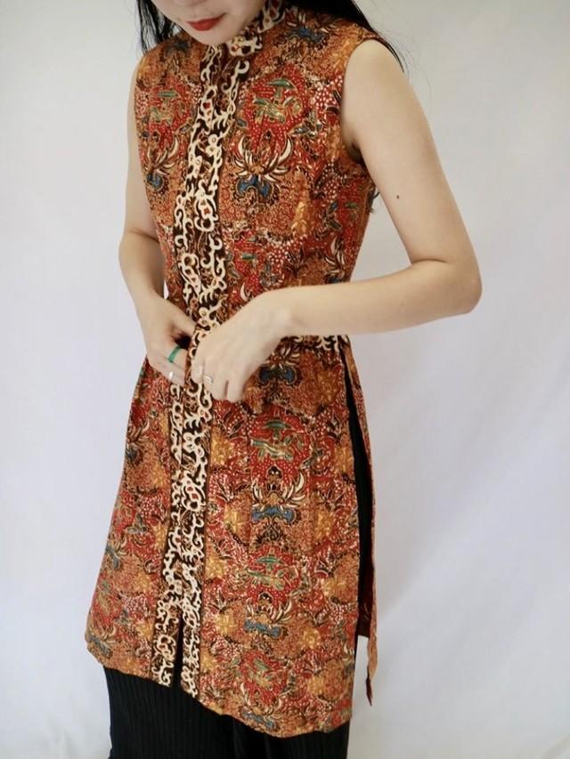oriental pattern mini  dress【0089】