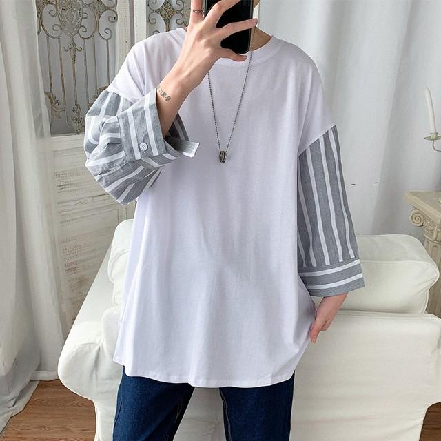 【メンズファッション】シンプル配色プルオーバーストライブ柄メンズTシャツ30849556