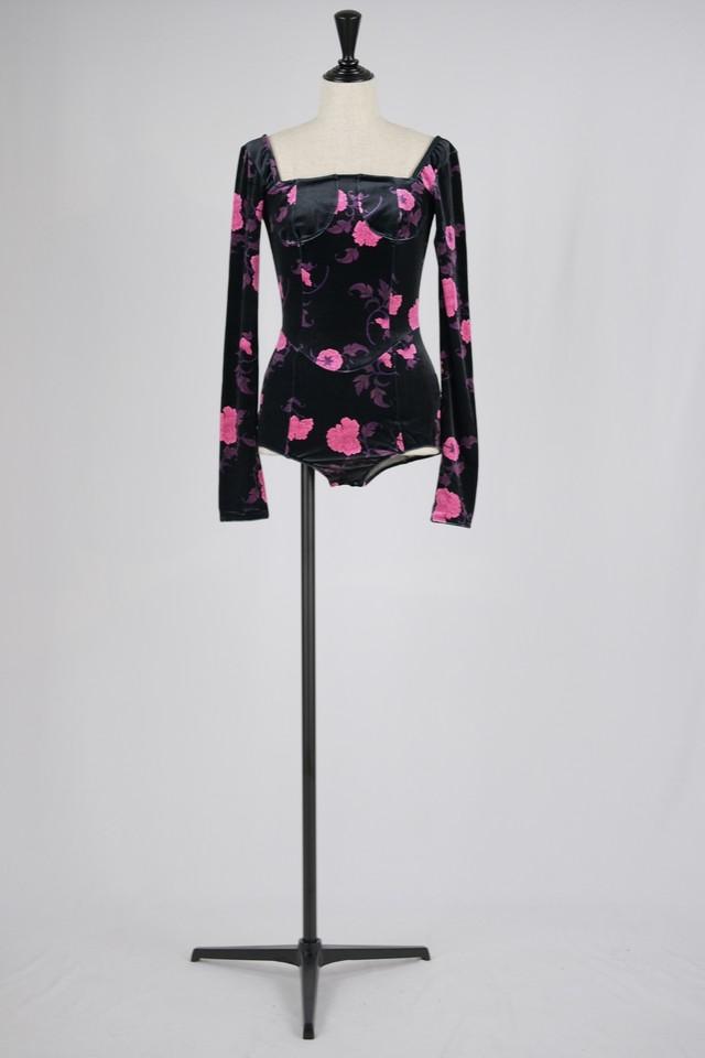 【FETICO】floral print velour body suits