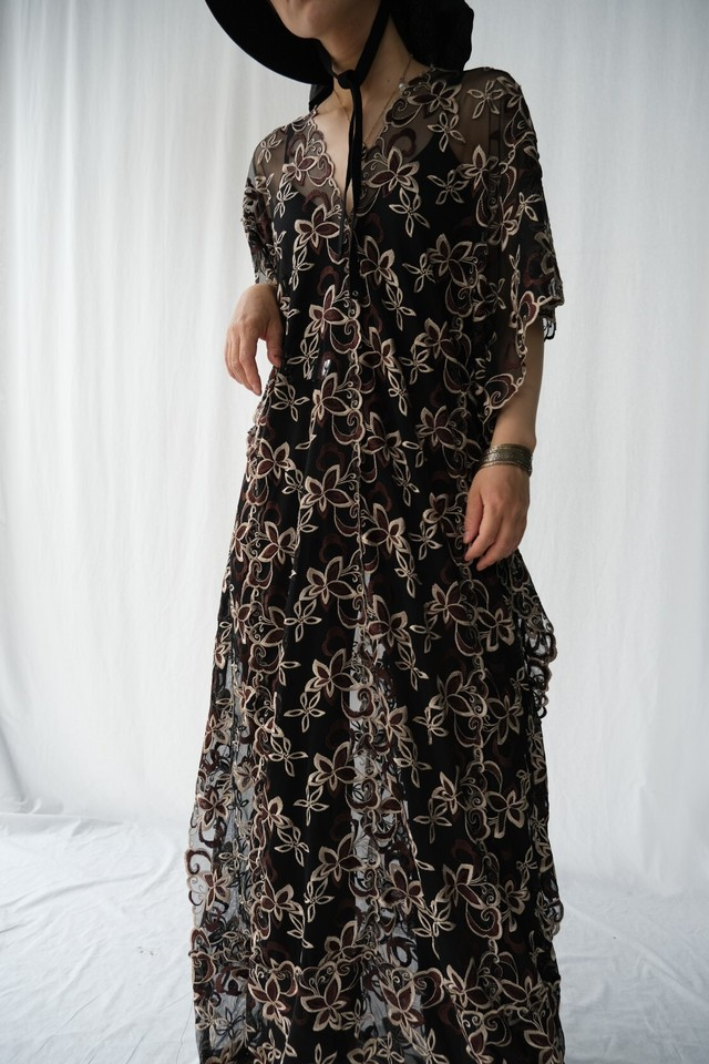 """""""used,vintage"""" flower lace  one-piece"""