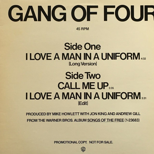 【12inch・米盤】Gang Of Four / I Love A Man In A Uniform (Long Version)