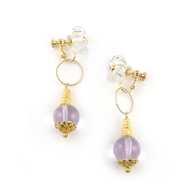 "【2way】 flower glass_earrings ""pure ice"" a002"