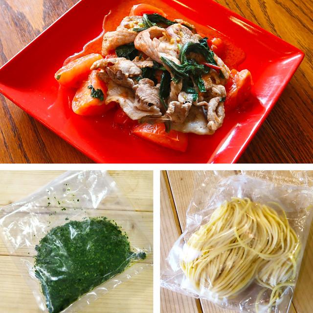 豚肉と大葉の綱島トマト煮とジェノベーゼのセット