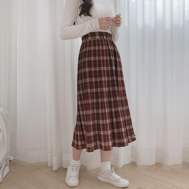【bottoms】チェック柄スリット品質いいサスペンダースカート 23035412