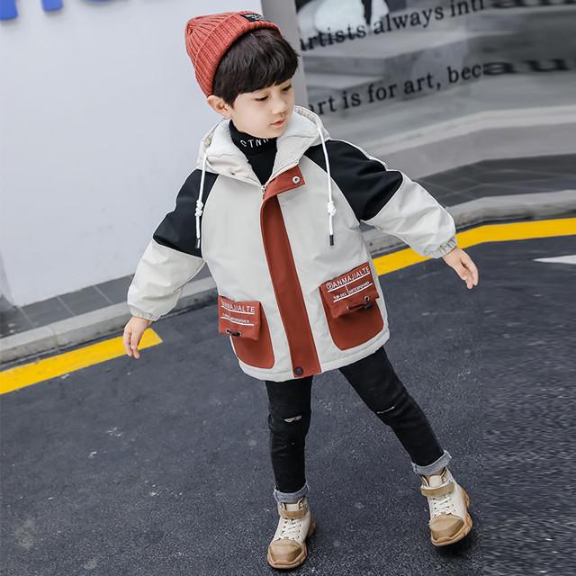 【トップス】配色コットン男の子オシャレカジュアルフード付きダウンコート25518282