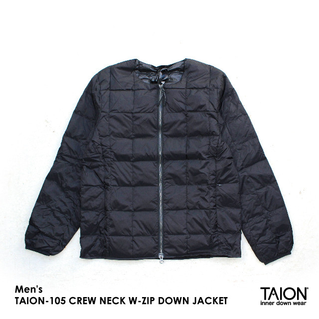 Free shipping NOW!! / Men's / TAION-105 CREW NECK W-ZIP DOWN JACKET / BLACK