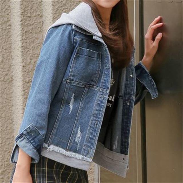 おすすめ 春物トレンド 人気 売れ筋 Gジャン デニムジャケット アウター フード付き 2way レイヤード風 カジュアル ショート丈