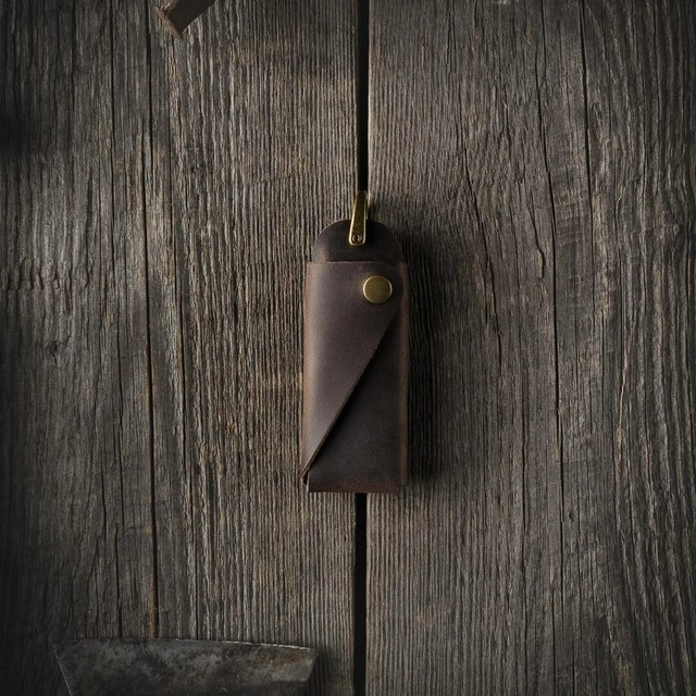 423 Minimalist Leather Key Organizer / Holder Wood Brown