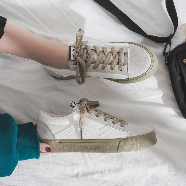 【送料無料】 可愛い配色♡ キャンバスシューズ フラット 歩きやすい カジュアル スニーカー