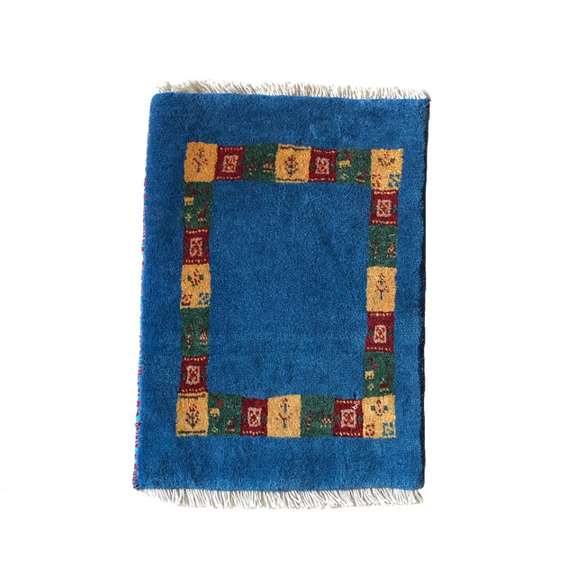 ギャッベ 玄関マットサイズ(S)ブルー 40 × 60【GB2-243】