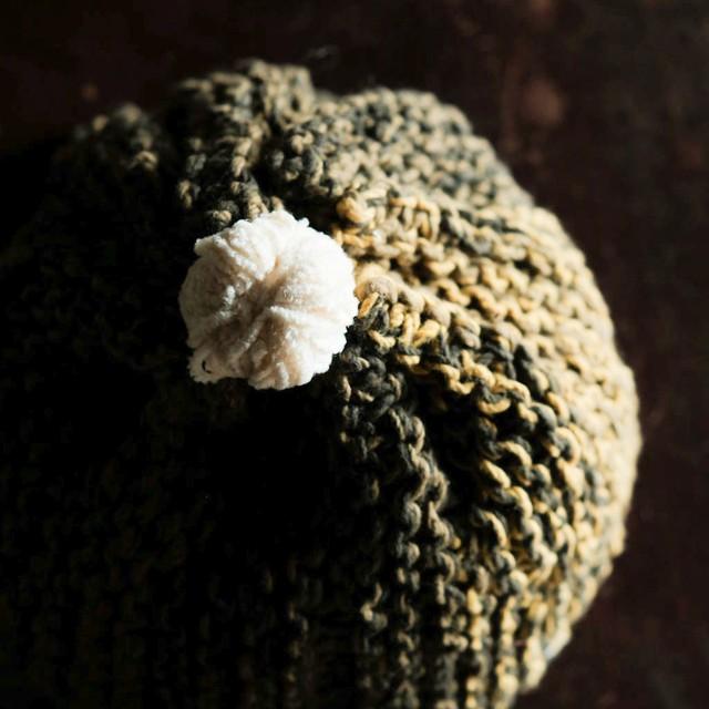 ☆l'isle 手編み帽子 『苔むす森の木霊』 オーガニックコットン 草木染め 手紡ぎ糸