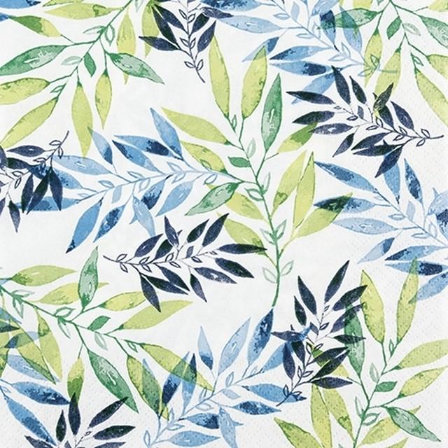 予約商品【Home Fashion】バラ売り2枚 ランチサイズ ペーパーナプキン Watercolour Leafs グリーン