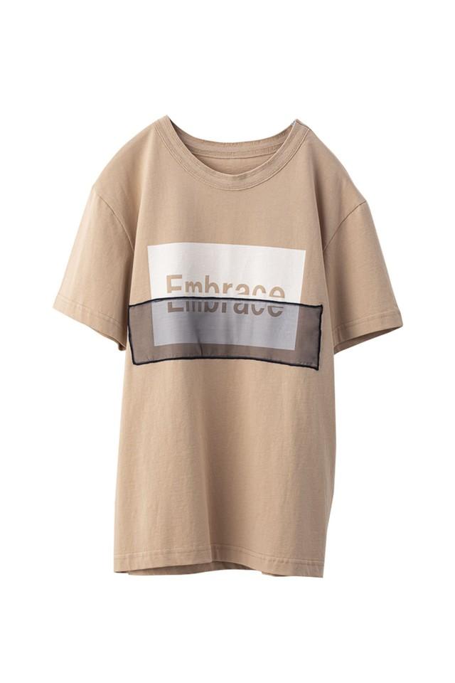 オーガンジーロゴコンビTシャツ < サーモンピンク > #
