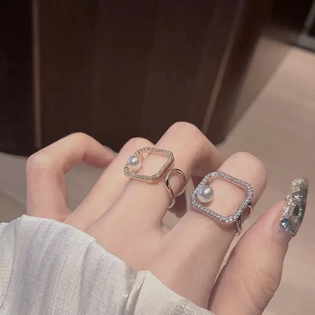 pearl square ring 2color