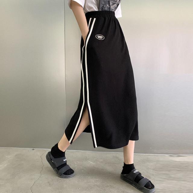 【ボトムス】シンプル膝下丈ハイウエストAラインスリットスカート42488008