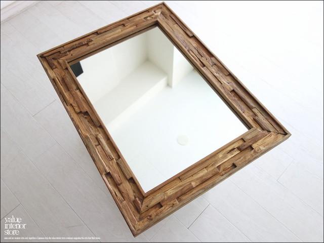 オールドチークフレームミラーNA 鏡 壁掛け レトロ 天然木 古材 ハンドメイド 手作り家具 個性的 無垢材 手作り