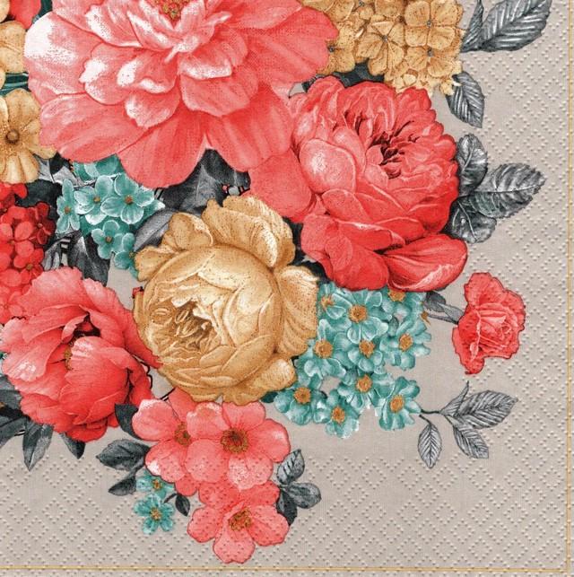 2021春夏【Maki】バラ売り2枚 ランチサイズ ペーパーナプキン Bunch of Flowers with Mandala ウォームグレー