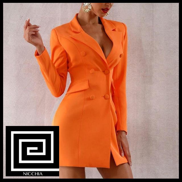 Vネックオレンジジャケットスーツドレス