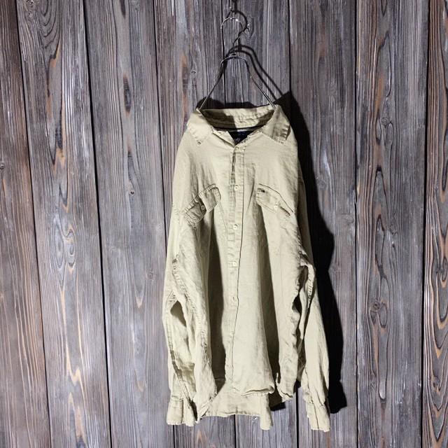 [TOMMY]khaki linen  shirt