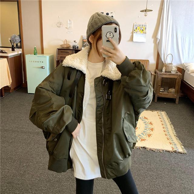 【韓国レディースファッション】 5895 オーバーサイズ MA-1 ボア ジャケット ミリタリー ブルゾン アウター 送料無料