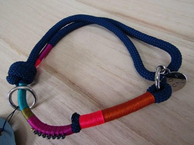 ドッグ首輪 ロープタイプ/ネイビー【珍しいデザイン×珍しいカラー糸で、他にはないうちのわんちゃんだけの首輪!をかなえます】