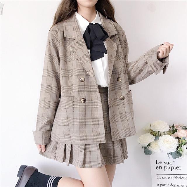 セットアップ 2点セット or 3点セット ボウタイブラウス チェック柄 テーラードジャケット プリーツスカート 韓国ファッション レディース 長袖 ハイウエスト ガーリー / British suit pleated skirt three-piece full set (DTC-578677631991)