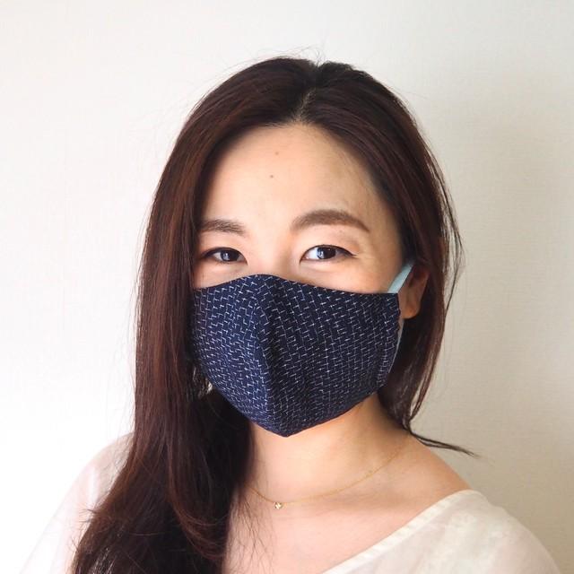 藍染め手織りかすり 4 層仕立て 快適サラサラマスク(文人かすり)