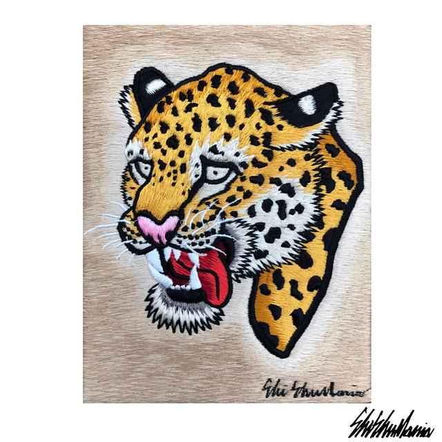 オラ豹刺繍パネル【横振り刺繍】