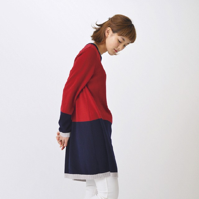 Color Block Long Pullover(ボルドー)