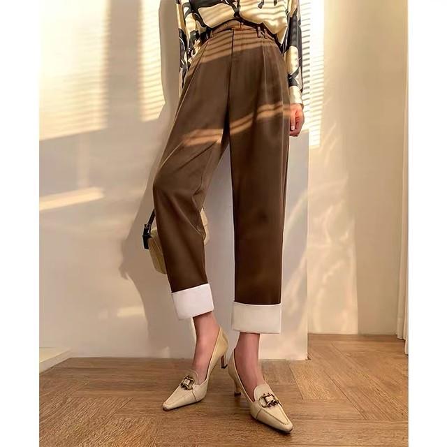 simple color loose pants
