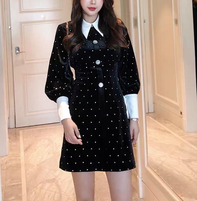 dot design collar dress