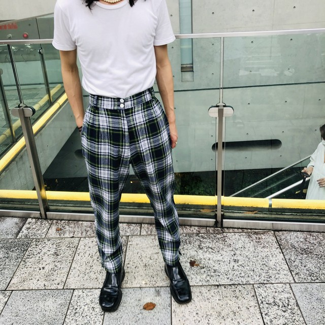 "VINTAGE""GREEN TARTAN CHECK PANTS"""